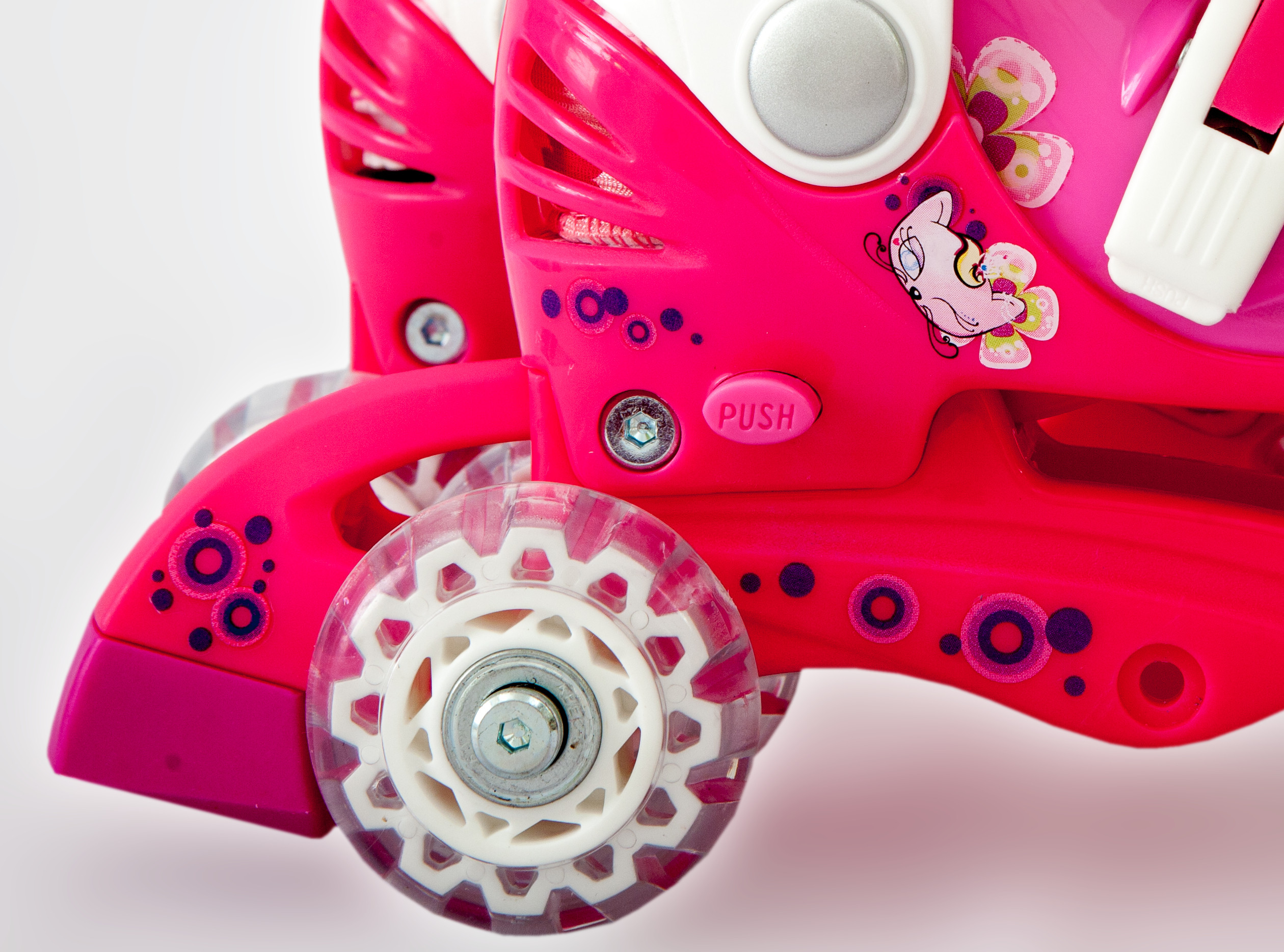 Ролики детские 26 размер, для обучения (трансформеры, раздвижной ботинок) MagicWheels розовые, - фото 4